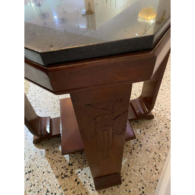 Wood American Art Deco Side Table With Polished Black Granite Top 1930s For Sale - Image 7 of 11