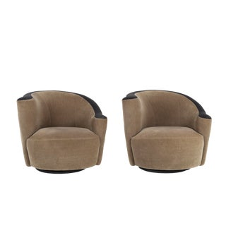 1970s Vintage Vladimir Kagan Scroll Swivel Chairs- A Pair For Sale