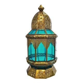 Moorish Brass & Turquoise Glass Lantern For Sale