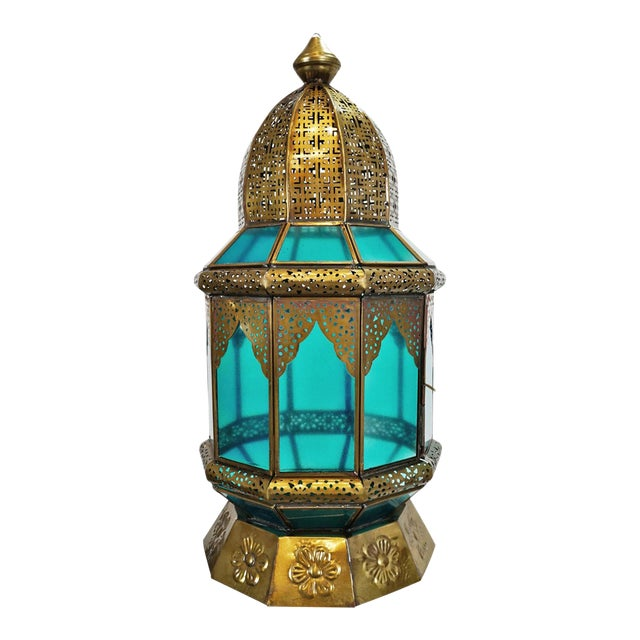 Moorish Brass & Turquoise Glass Lantern For Sale