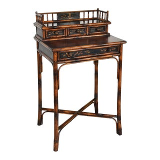 Chinoiserie Faux Tortoise Bamboo Japanned Desk or Writing Table 1800s England For Sale