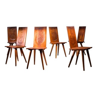 Jean Touret Set of Six Oak Dining Chairs for Marolles, France, 1950s For Sale