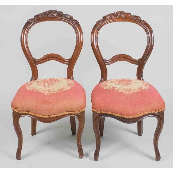 French Antique Victorian French Carved Needlepoint Balloon Back Chairs - a  Pair For Sale - Image - Antique Victorian French Carved Needlepoint Balloon Back Chairs - A
