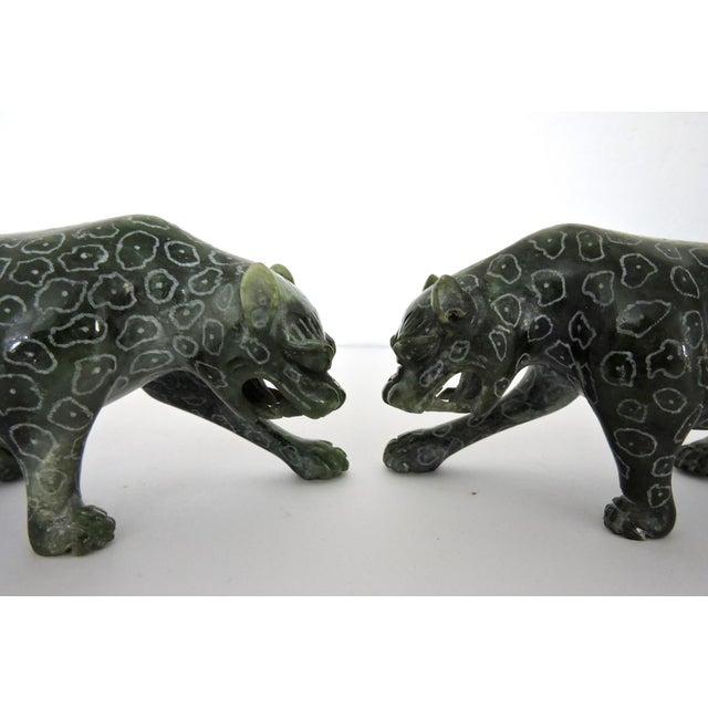 Chinese Jadeite 'Cloud Leopards' - Sculptures / Statues, a Pair For Sale - Image 4 of 8