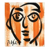 Image of Vintage Original Peter Robert Keil Abstract Face Painting For Sale