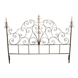 Wrought Iron Italian Gold Gilt King-Size Headboard For Sale
