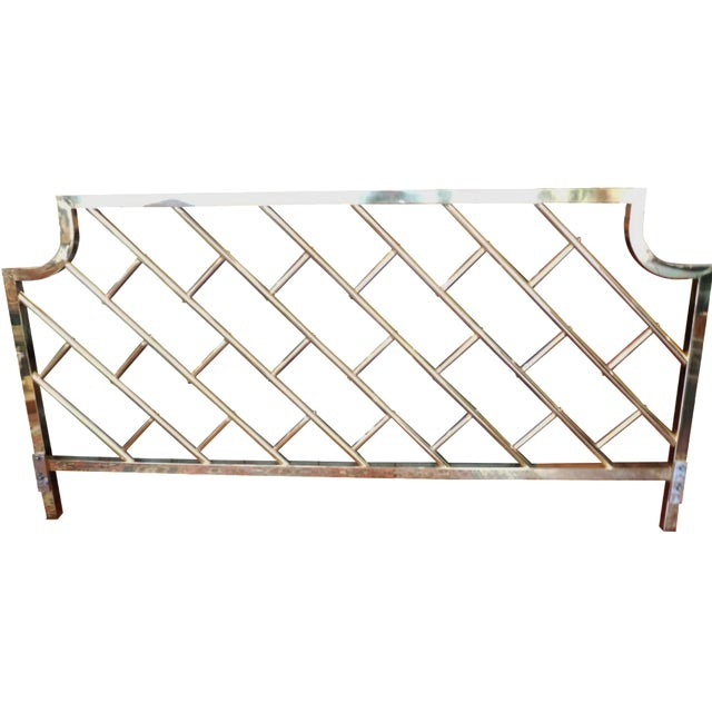 Brass Chippendale-Style King Headboard - Image 1 of 6