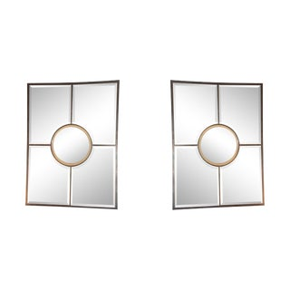 Contemporary Design Frères Solid Brass Beveled 'Quadrature' Mirrors - a Pair For Sale