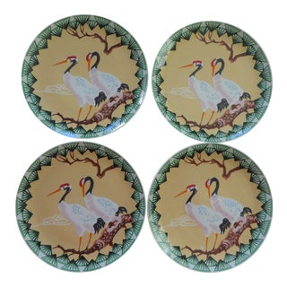 70s Boho Crane Plates- Large Hand Painted - Set of 4 For Sale