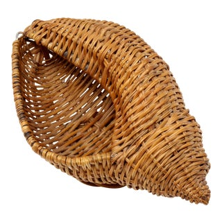 Vintage Wicker Conch Shell Basket For Sale