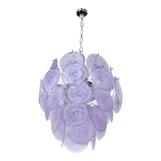 Modernist Light Amethyst Four-Tier Vistosi Disc Chandelier For Sale
