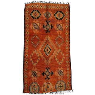 Vintage Berber Moroccan Tribal Style Rug - 6′ × 11′1″ For Sale