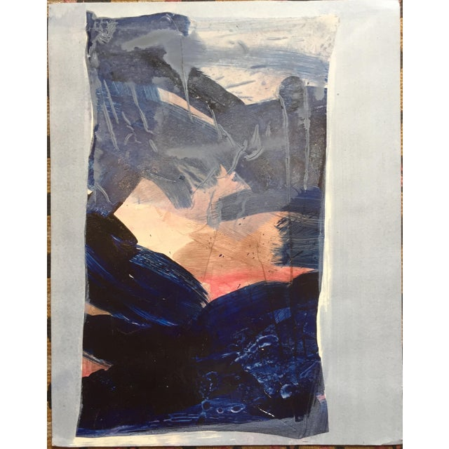 "Patricia Zippin Blue Border 1980s Mixed Media 15""x 12"", unframed Signed in pencil on reverse Excellent Condition- Minor..."