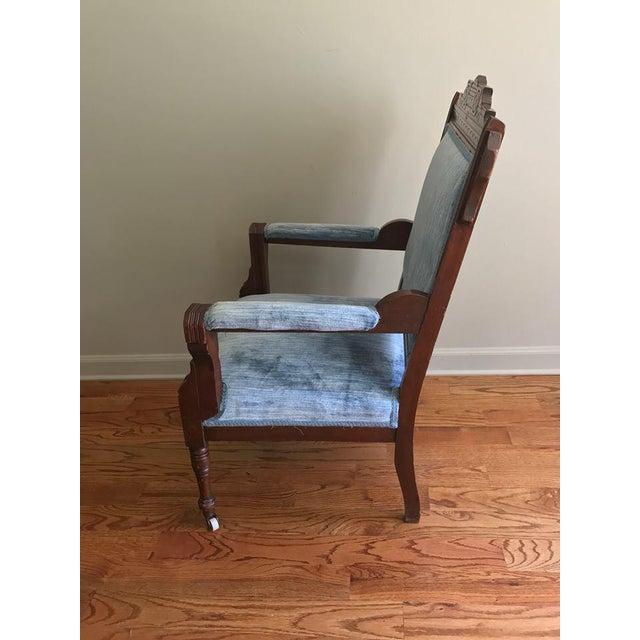 Blue Velvet Eastlake Chair For Sale - Image 5 of 9