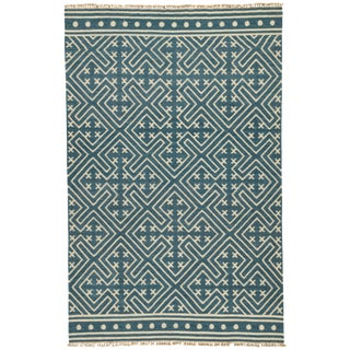 Jaipur Living Lahu Handmade Geometric Blue/ White Area Rug - 2′ × 3′ For Sale