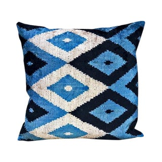 Kim Salmela Diamond Turkish Silk Velvet Ikat Square Pillow For Sale