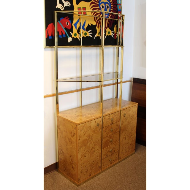 For your consideration is an absolutely fabulous credenza and brass etagere unit, designed by Milo Baughman, circa the...
