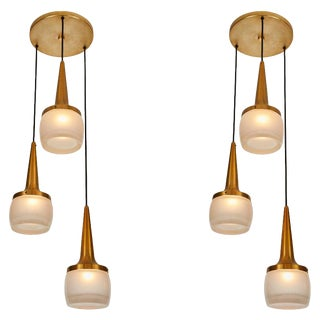 1960s Staff Leuchten Large 3-Pendant Chandeliers - a Pair For Sale