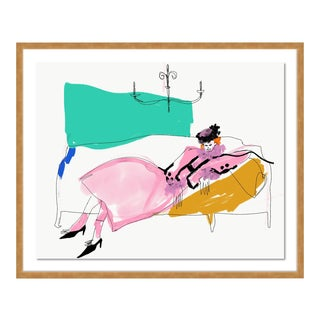 Laying in Marc Jacobs by Annie Naranian in Gold Frame, Small Art Print For Sale