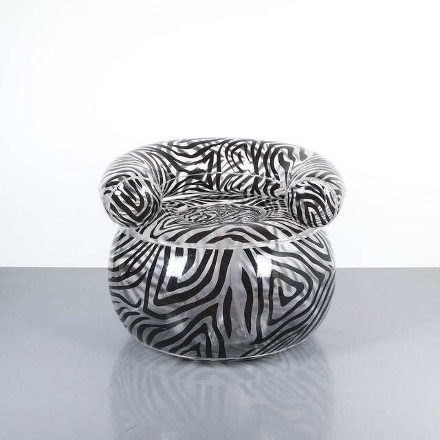 Blow chair by Alexis Lahellec, Paris, 1996. Nice zebra pattern chair, fully comprised of PVC. Good condition.