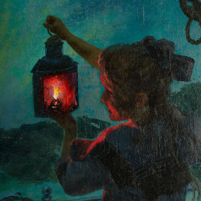 "Victorian Early 20th Century ""Girl with Lantern"" Figurative Oil Painting by Otto Toaspern For Sale - Image 3 of 11"