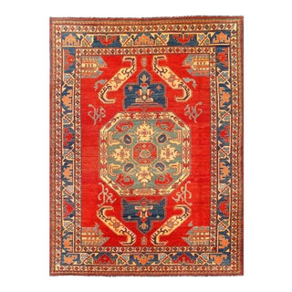 Red Fine Hand Knotted Kazak Rug 6'8'' X 9'6'' For Sale