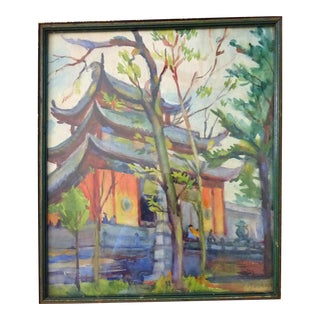 20th Century Chinese Watercolor of a Chinese Temple in the Forest For Sale
