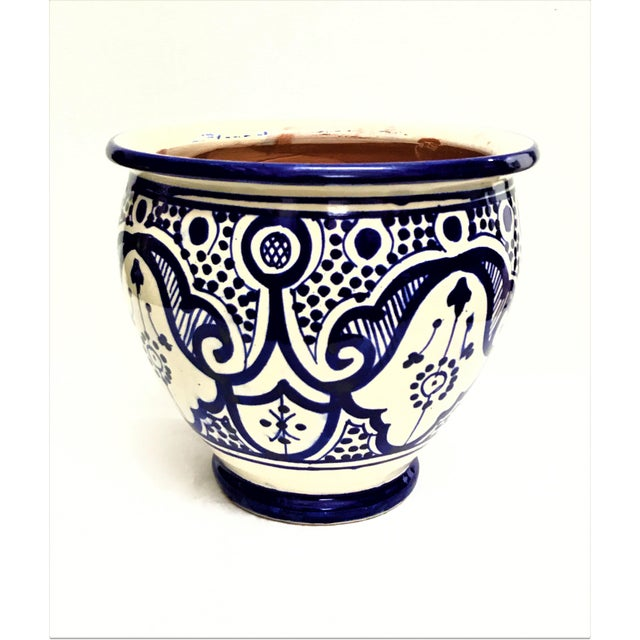 Boho Chic Moroccan Blue/White Ceramic Flower Pot For Sale - Image 3 of 3