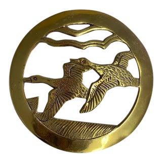 1970s Brass Flying Geese Trivet For Sale