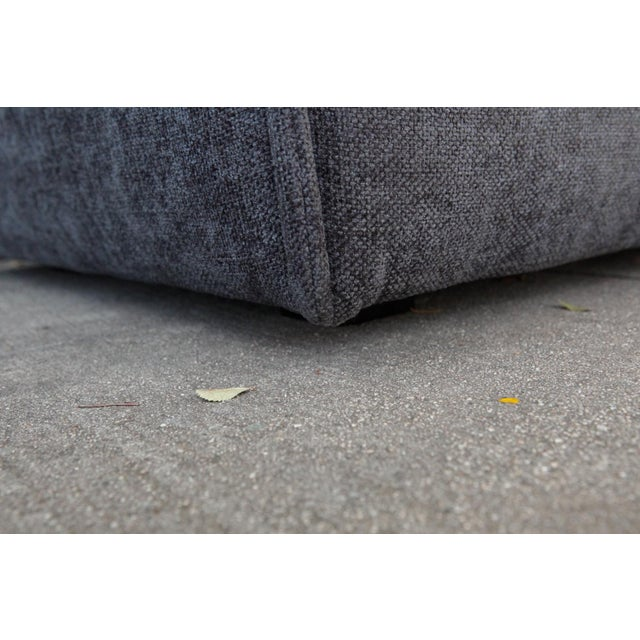 Modern Upholstered Gray Ottoman For Sale - Image 4 of 5