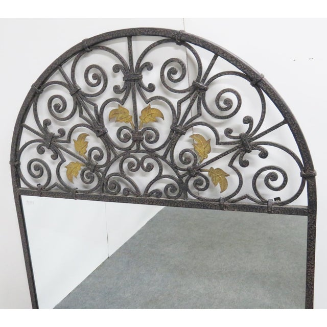 Casa Bique Hand Hammered Iron & Brass Mirror For Sale - Image 4 of 6