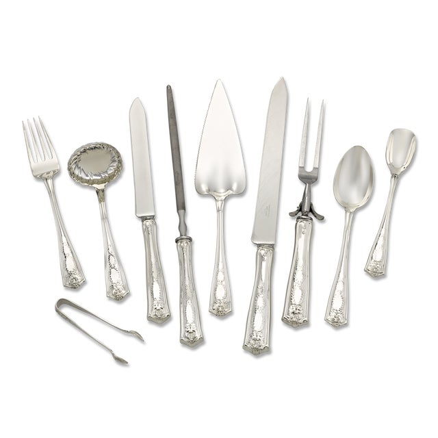 Tiffany and Co. Tiffany & Co. Winthrop Silver Flatware Service For Sale - Image 4 of 8