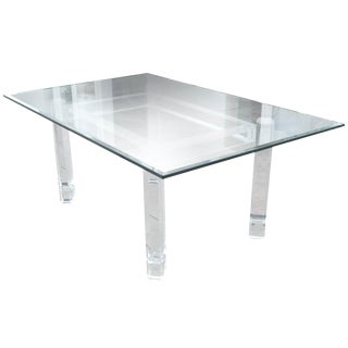 Modern Plexiglass Table With Glass Top For Sale