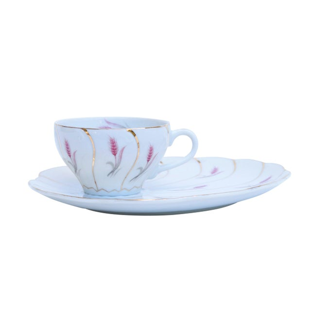 Yamaka 12-Piece Bone China Teacup & Saucer Set For Sale - Image 4 of 9