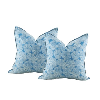 Blue Shell Block Print Pillow Covers - A Pair For Sale