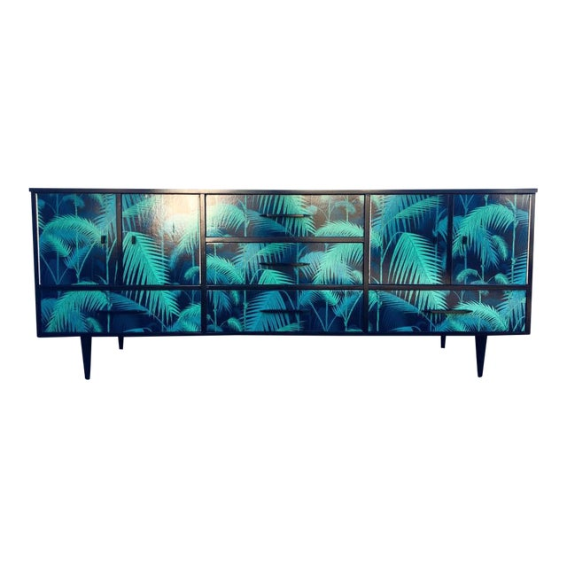 Mid-Century Palm Leaf Print Credenza - Image 1 of 5
