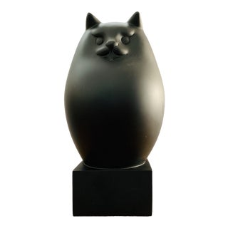 Abstract Modernist Black Persian Cat Sculpture For Sale