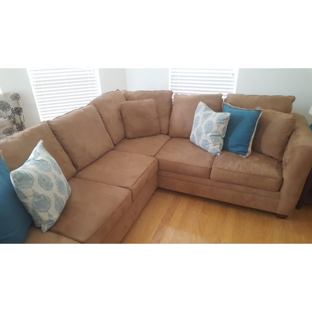Macy's L-Shaped Suede Sectional Sofa For Sale - Image 5 of 5