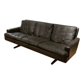 1960s Danish Leather and Rosewood Sofa by Fredrik Kayser For Sale