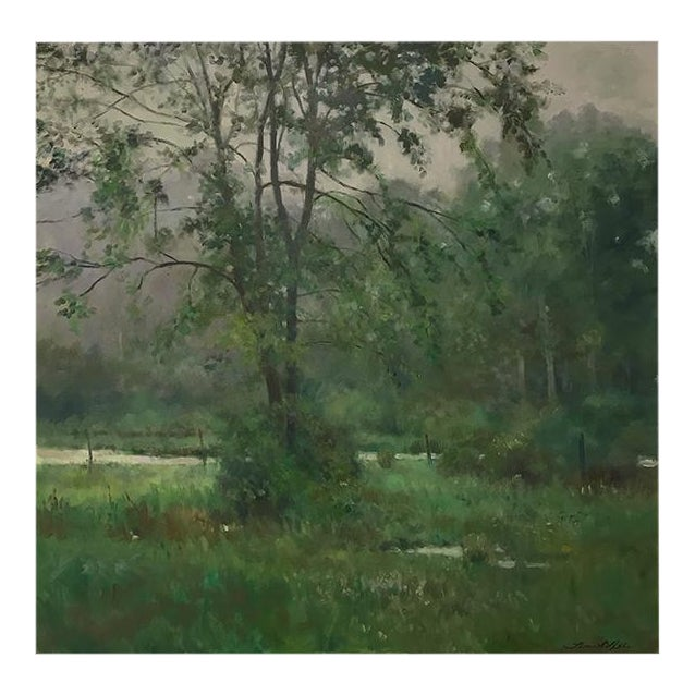 "Thomas McNickle ""Elm in the Rain"" Contemporary Traditional Landscape Oil Painting For Sale"