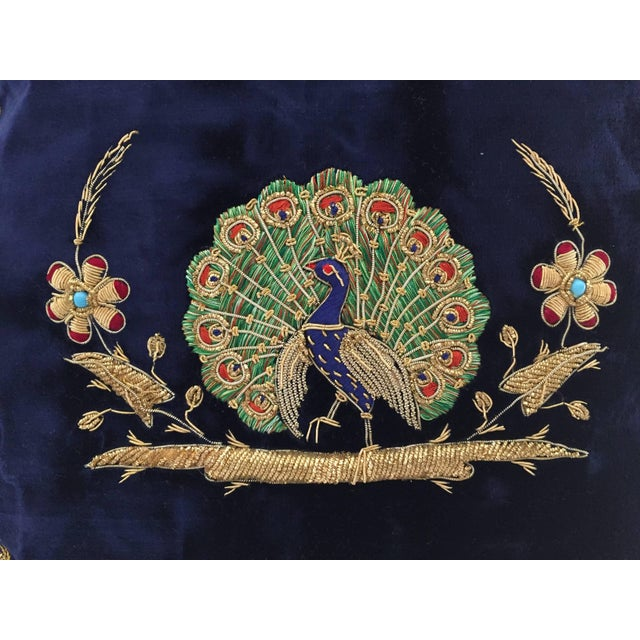 Mid 20th Century Mid Century Velvet Blue Silk Pillow Embroidered With Gold Peacock For Sale - Image 5 of 11