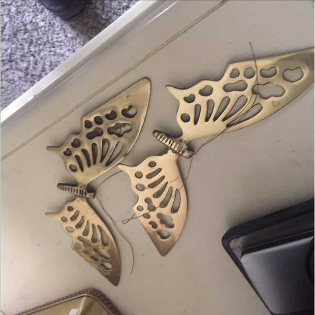 Brass Wall Hanging Butterflies- a Pair - Image 5 of 5