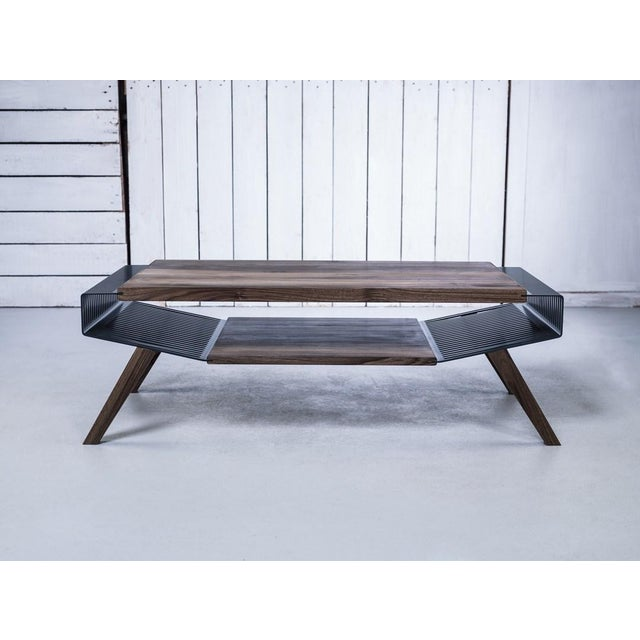 Solid Wood & Perforated Steel Coffee Table - Image 6 of 8