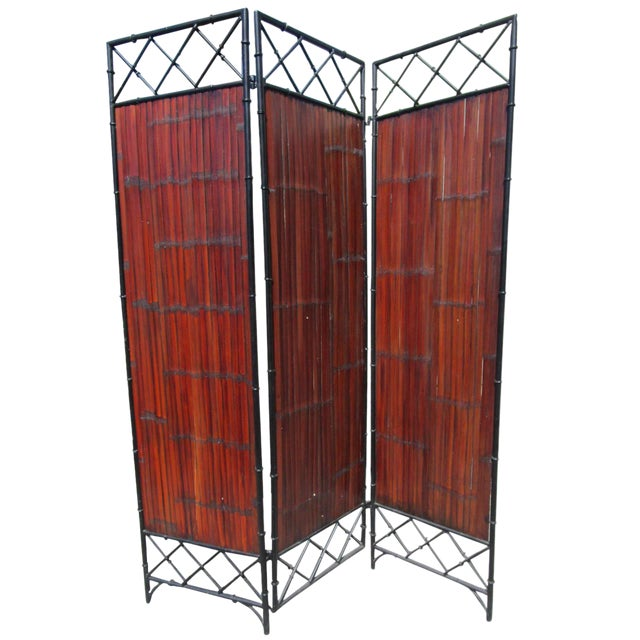Wrought Iron & Bamboo Slet, 3-Panel Screen For Sale