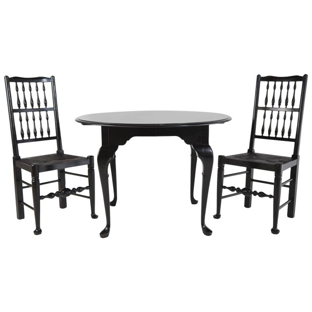 Colonial Revival Style Black Lacquer Chairs & Queen Anne Style Table Set For Sale