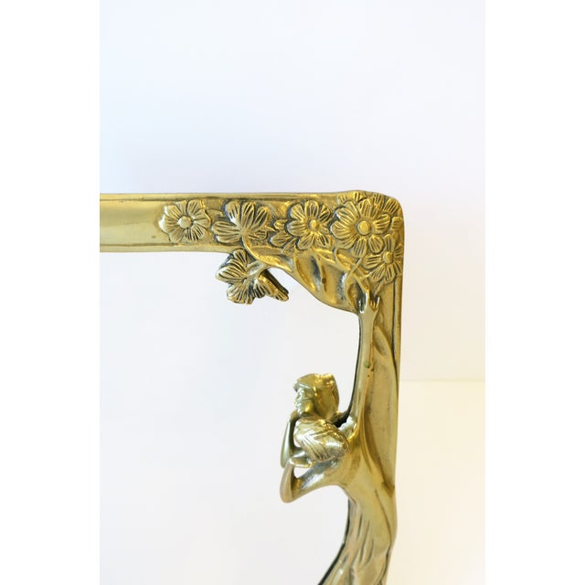 Metal Brass Vanity Mirror in the Art Nouveau Style For Sale - Image 7 of 12