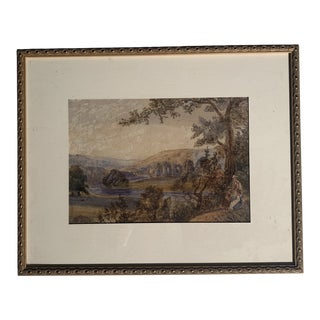 1900s Antique French Watercolor Painting For Sale