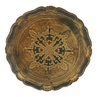 Blue & Gold Florentine Tray For Sale