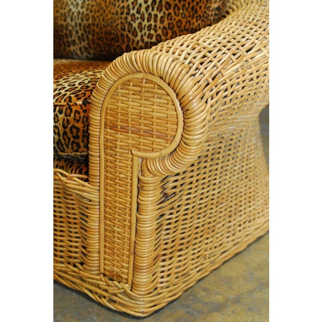 Michael Taylor Inspired Wicker Sofa Scalamandre Style Leopard Upholstery For Sale - Image 5 of 10