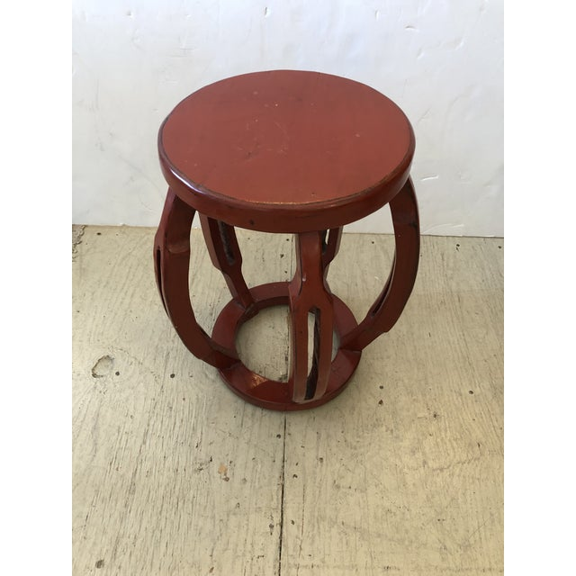 Wood Red Chinese Carved Wood Garden Seat Side Table For Sale - Image 7 of 8